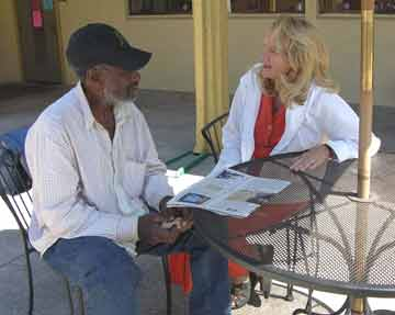 Joseph Shaw (at left) talks with Carol Johnson, director of St. Mary's. Lydia Gans photo