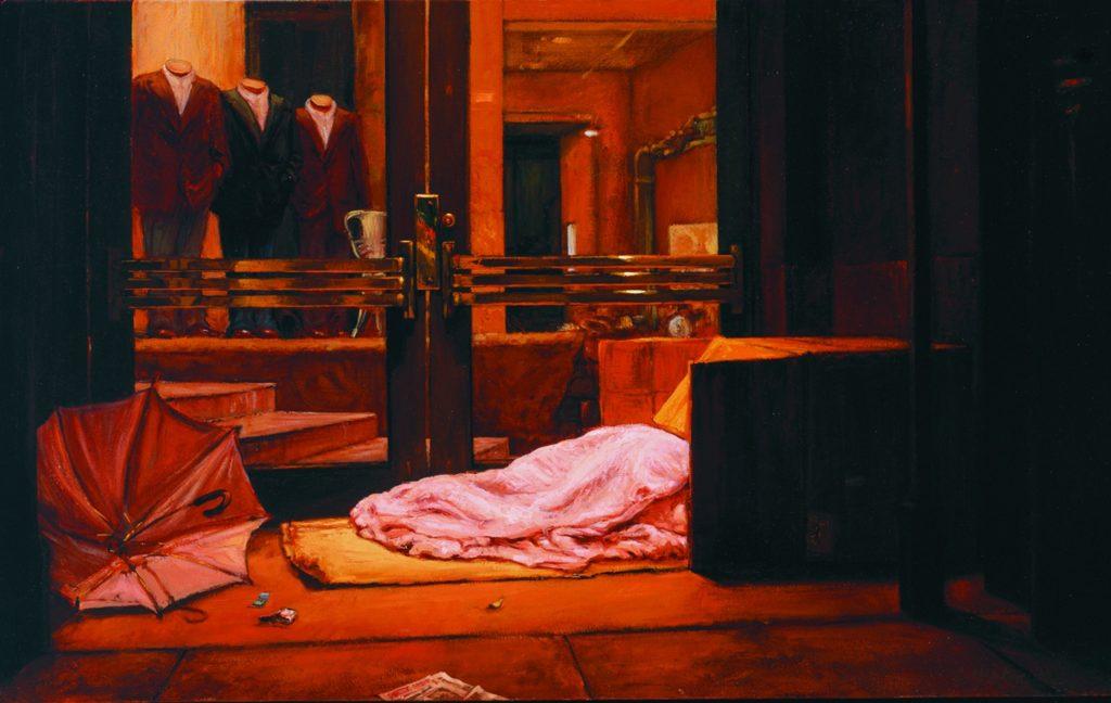 """Wet Night on Sutter Street"" ""Wet Night on Sutter Street"" by Christine Hanlon, oil on canvas, 20"" by 32 1/3"""