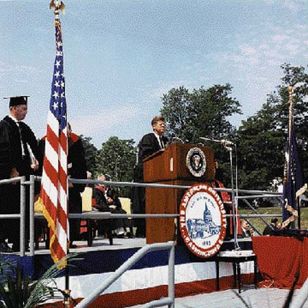 "ennedy delivers the commencement address at American University in Washington, D.C., on June 10, 1963. Saturday Review editor Norman Cousins summed up the significance of this remarkable speech: ""At American University on June 10, 1963, President Kennedy proposed an end to the Cold War."" Photo by Cecil Stoughton, in the John F. Kennedy Presidential Library and Museum."