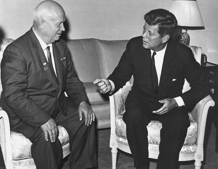 Nikita Khrushchev and John Kennedy meet in Vienna, June 1961. Photo from U. S. Dept. of State in John F. Kennedy Presidential Library and Museum, Boston.