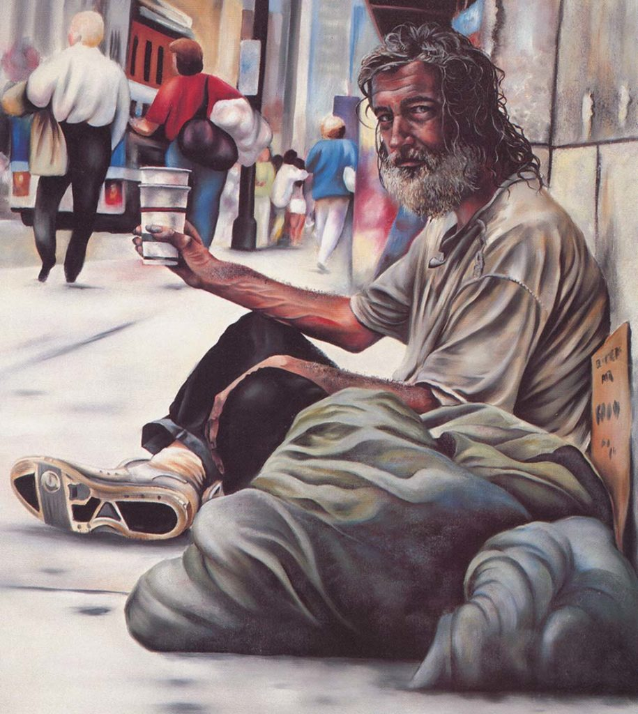 """Richie.""  A homeless man silently appeals for spare change.  Artwork by Tammy Grubbs"