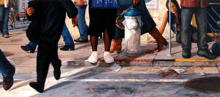 """Faux Street Revisited."" The viewpoint of a homeless woman at ground level, as passers-by hurry past and ignore her. Painting by Christine Hanlon, oil on canvas, 37 1/2"" by 84"""