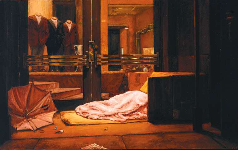 """Wet Night On Sutter Street."" A homeless person sleeps in a cardboard box outside an expensive clothing store in San Francisco on a rainy night. Painting by Christine Hanlon, oil on canvas, 20"" by 32 1/3"""