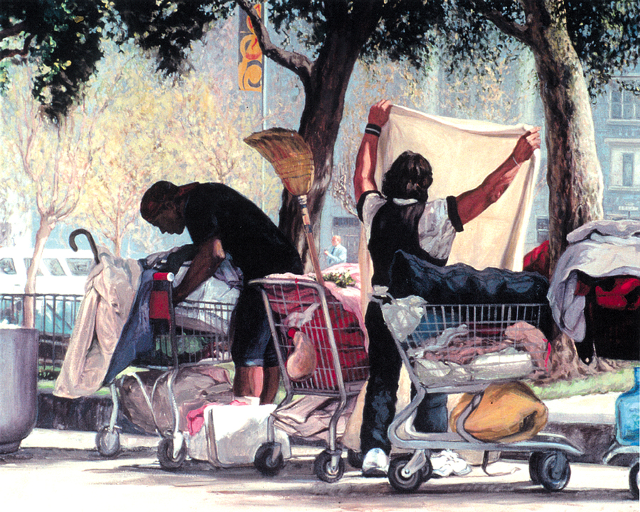 "San Jose evicted 300 homeless people from the Jungle, forcing them to pack up their tents and all their worldly possessions. ""Scavengers"" Painting by Christine Hanlon"
