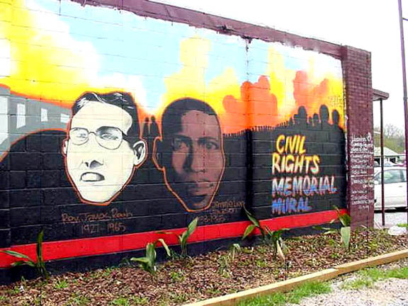 The Civil Rights Memorial Mural honors Rev. James Reeb (left) and Jimmie Lee Jackson who were both murdered during the Selma movement for voting rights.