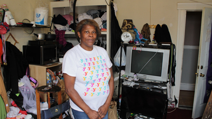 Andrea lives in a tiny, cramped room in the Phillips Hotel. Alexander Wong photo