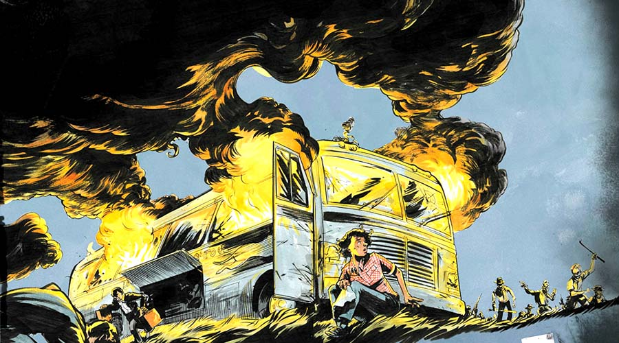 The cover art from March: Book Two shows the burning of the Freedom Riders' bus by a mob that also assaulted the Riders. Detail from cover of March: Book Two.