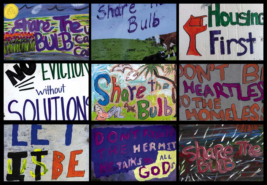 """Protest Grid.""  Albany Bulb residents carried these signs protesting their eviction to Albany City Hall. Image by Robin Lasser"