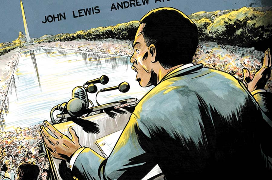 The cover art of March: Book Two depicts John Lewis speaking at the massive March on Washington for Jobs and Freedom on August 28, 1963, when he was 25.