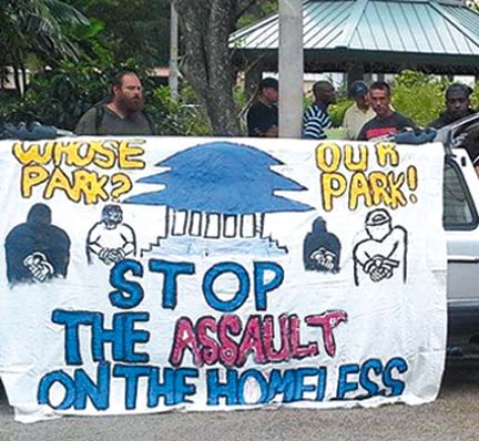 """Whose Park? Our Park! Stop the Assault on the Homeless."" Photo credit: South Florida Food Not Bombs."