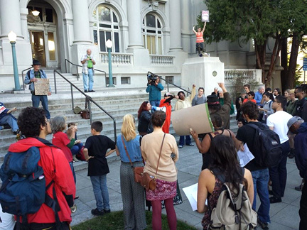 On March 17, protesters marched to the Berkeley City Council in resistance to the anti-homeless laws. Sarah Menefee photo