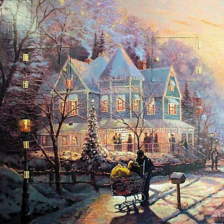 """Holiday Home.""   Luke 16: 25  A homeless man finds no home in the wintry cold, in this scene reminiscent of Thomas Kinkade's art. Painting by Jos Sances"