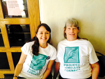 The author, Linda Lemaster (at right), at a survey documenting homelessness in Santa Cruz held by Project Homeless Connect.
