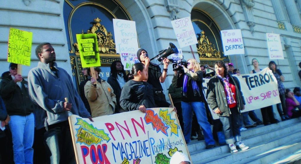 Protesters marched on S.F. City Hall to denounce the police shooting of Randal Dunklin, a disabled man. Carol Harvey photo