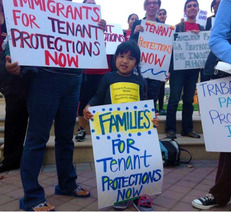 """Families for tenant protections now."" The youngest are threatened by displacement. Photo: JCCJ"