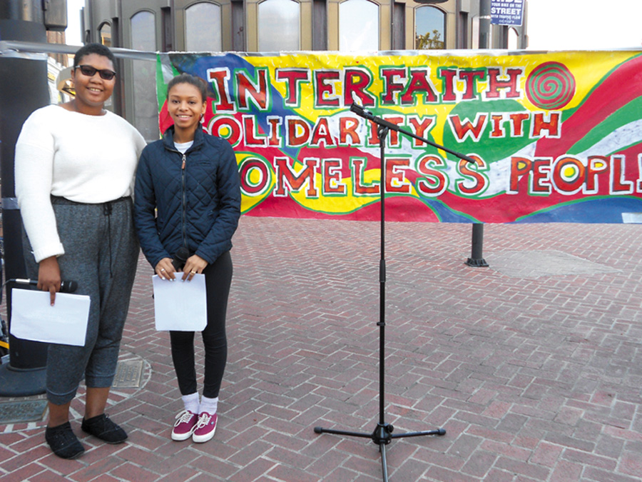 Rayven Wilson and Carena Ridgeway of Youth Spirit Artworks were the MCs at the interfaith event. Lydia Gans photo