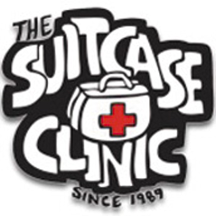 The logo of The Suitcase Clinic, a long-standing organization founded by UCB students to serve the homeless community.