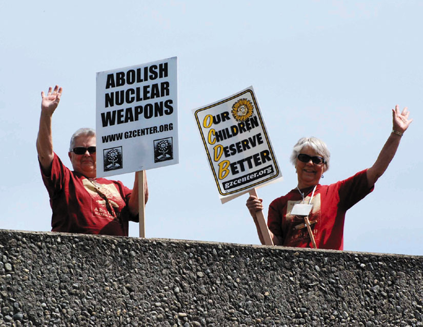 Activists from the Ground Zero Center call for the abolition of nuclear weapons. Photo courtesy Ground Zero Center