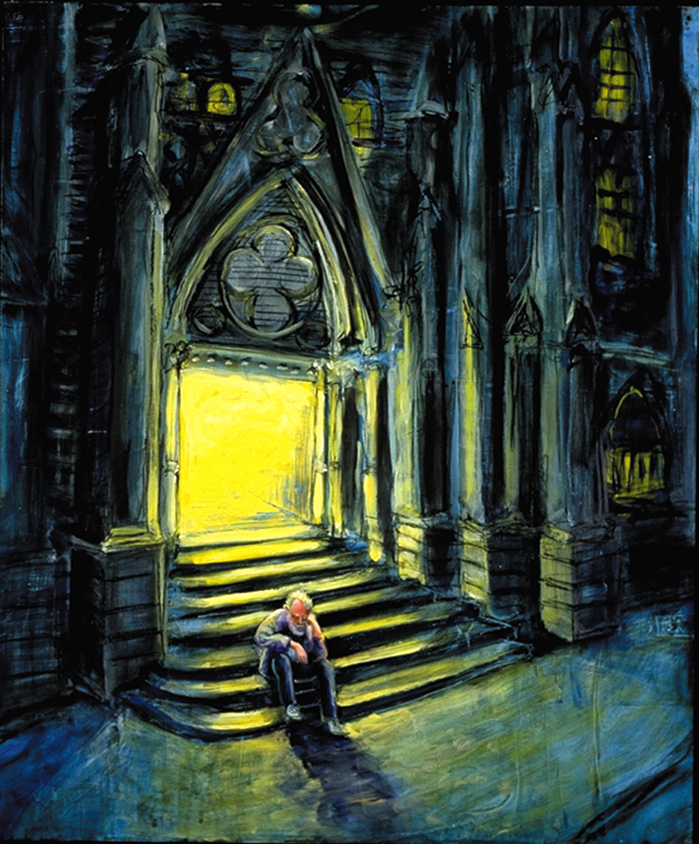 """Church."" A homeless man finds refuge on the steps of a church in this painting.  Many faith communities in Berkeley are involved in providing shelter, housing and meals to homeless people.  Art by Jonathan Burstein"