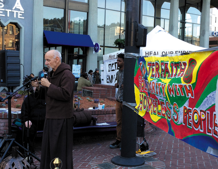 Louie Vitale, the highly respected Franciscan who has been active for several decades for peace and justice, speaks out against Berkeley's anti-homeless laws and calls for justice for the poor