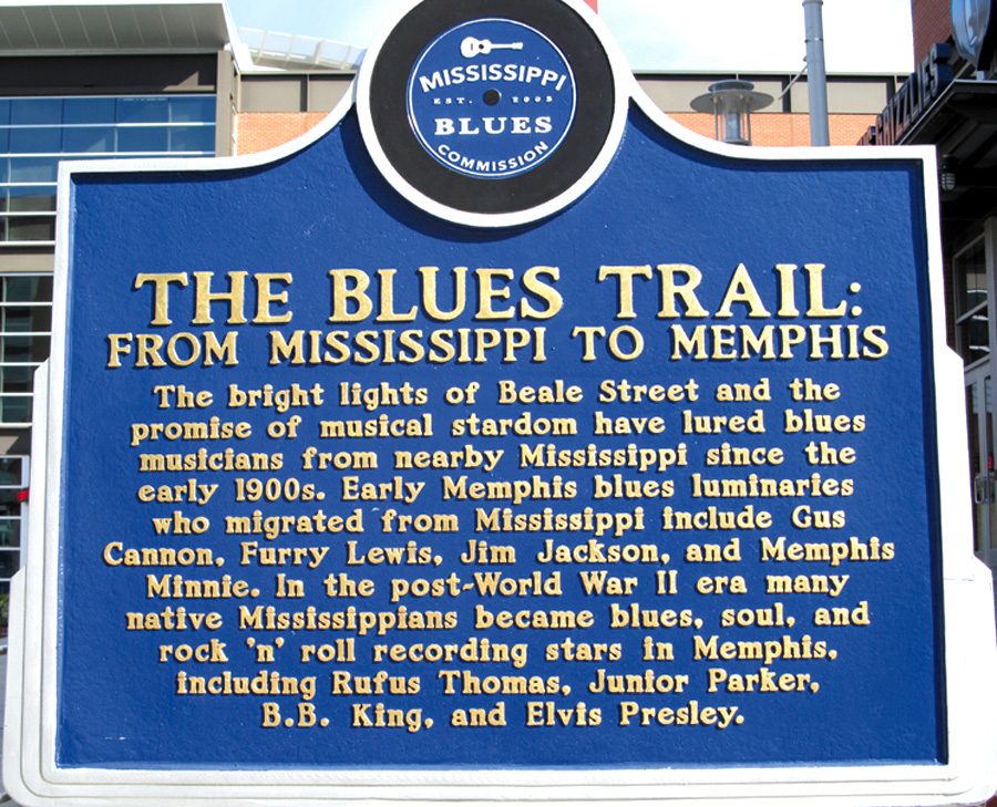 """The Blues Trail."" This Blues Marker in Memphis honors the journey of many blues artists from rural Mississippi to Beale Street and beyond.  Ellen Danchik photo"