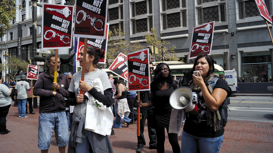 On July 31, housing activists marched on the office of the Union Square Business Improvement District.  Janny Castillo photo