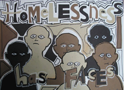 """Homelessness Has Faces.""  Rodney Bell, a formerly homeless artist and musician, created this artwork to show that people who have been homeless are all individuals — and not a faceless mass or nameless category."