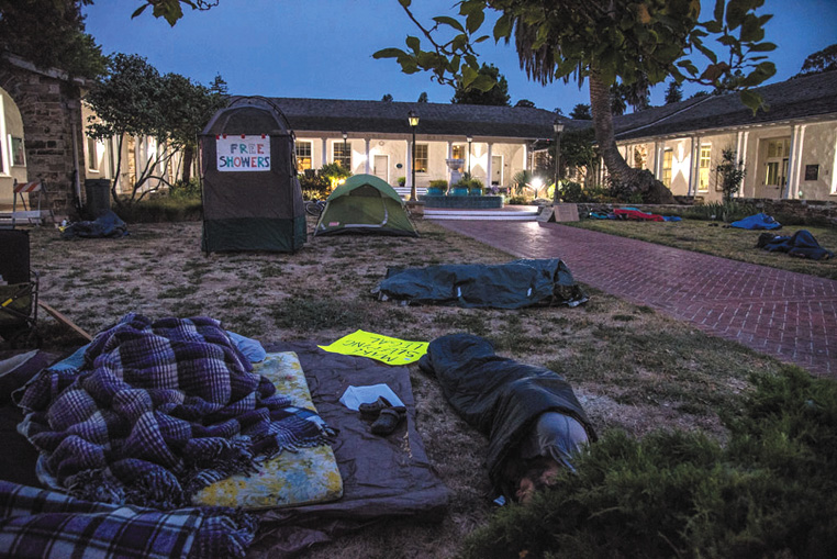 The Freedom Sleepers held three sleep-ins at Santa Cruz City Hall in July to challenge the laws that criminalize homelessness.