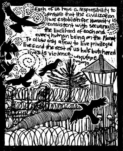 Art by Annie Banks; words by Mutope Duguma, imprisoned at Pelican Bay State Prison SHU