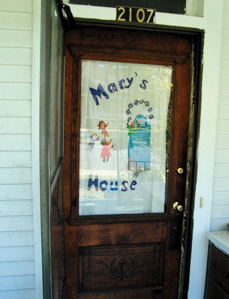 The front door of Mary's House, a Catholic Worker house of hospitality in Birmingham, Alabama, founded by Shelley and Jim Douglass.