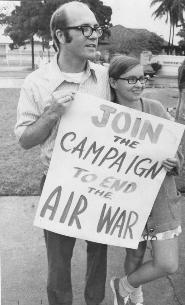 Jim and Shelley Douglass in their younger days during the antiwar movement. outside Hickam AFB, Honolulu, in 1972 during the Vietnam War.