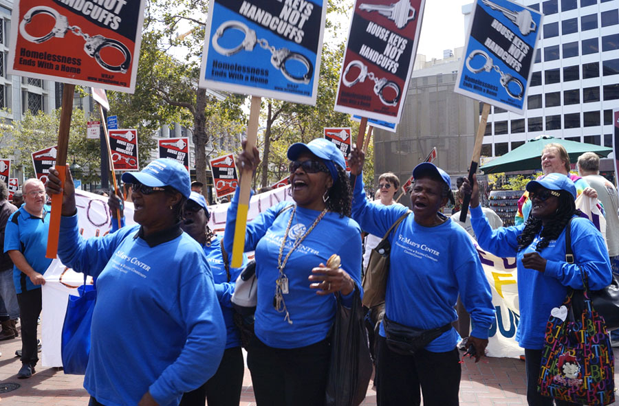 Women from St. Maryh's Center in Oakland join the protest in San Francisco against the harassment of homeless people by Union Square BIDs. Photo by Janny Castillo