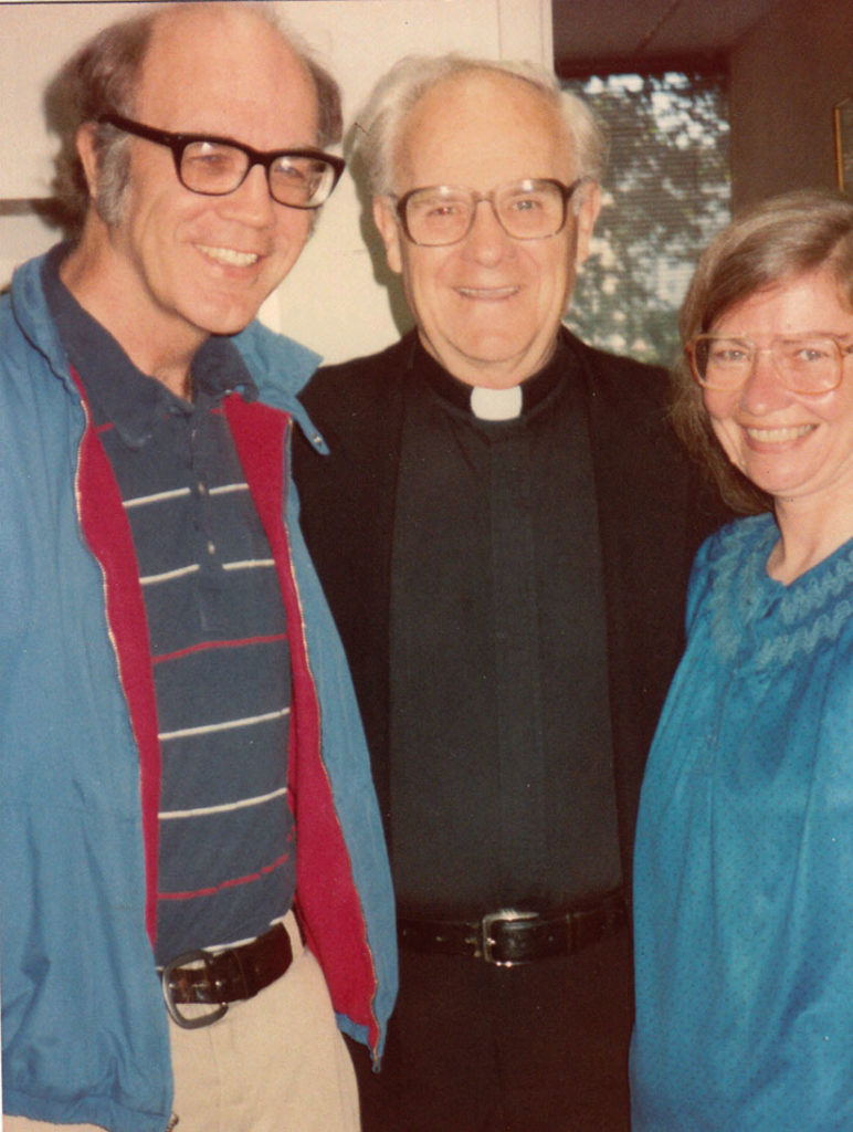 Jim and Shelley Douglass with Seattle Archbishop Raymond Hunthausen in the 1980s when Hunthausen joined the protests against nuclear arms at the Trident base.