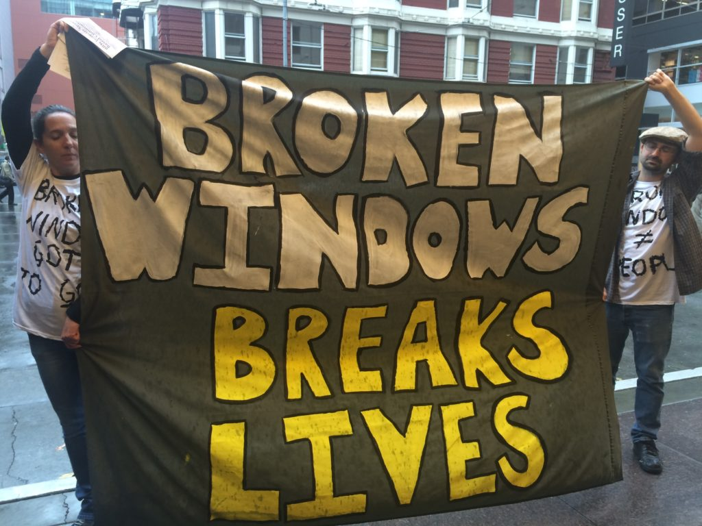 Wrap protests International Downtown Association support of Broken Windows Policing