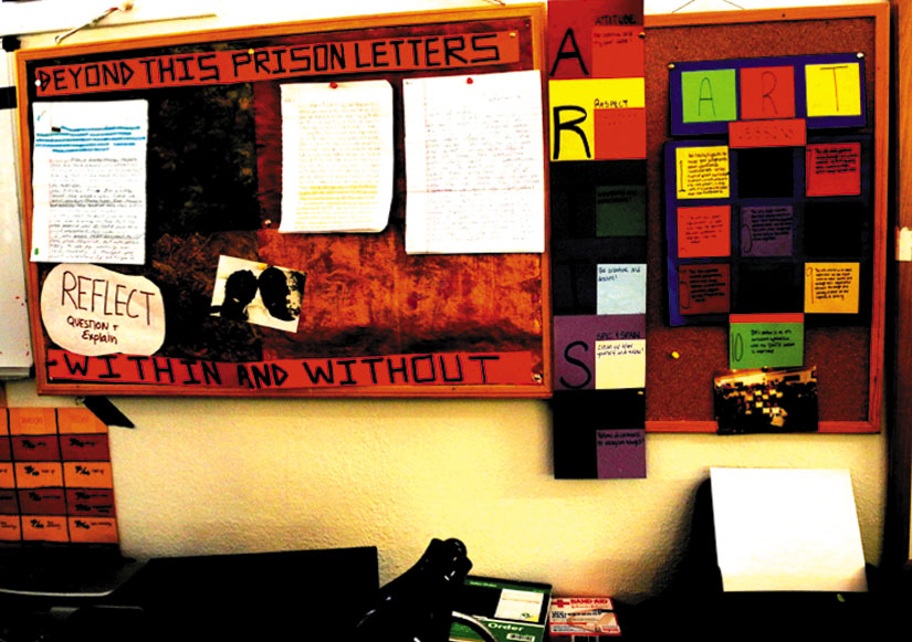 "The ""Beyond This Prison"" letters writing project wall at YSA. Carol Denney photo"