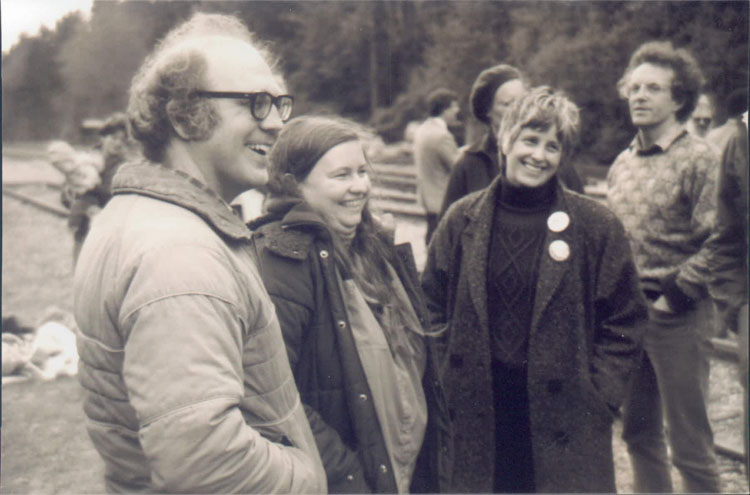 Jim and Shelley Douglass and Kim Wahl at a protest held by Ground Zero in 1987.