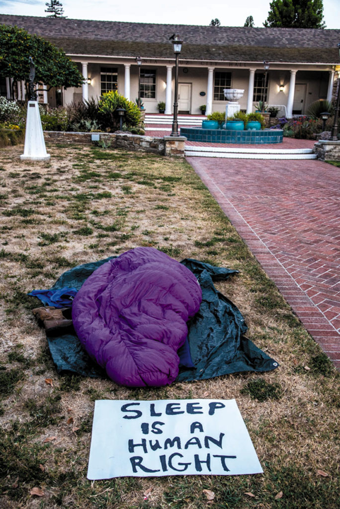 Bag.jpg Freedom Sleepers stage a protest with sleeping bags outside Santa Cruz City Hall. Alex Darocy photo