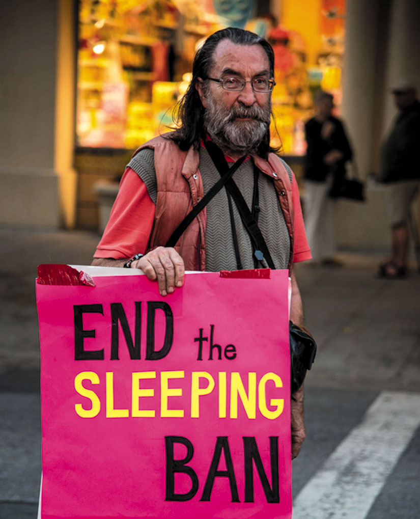 Freedom Sleepers in Santa Cruz call for an end to Sleeping Ban. Photo by Alex Darocy