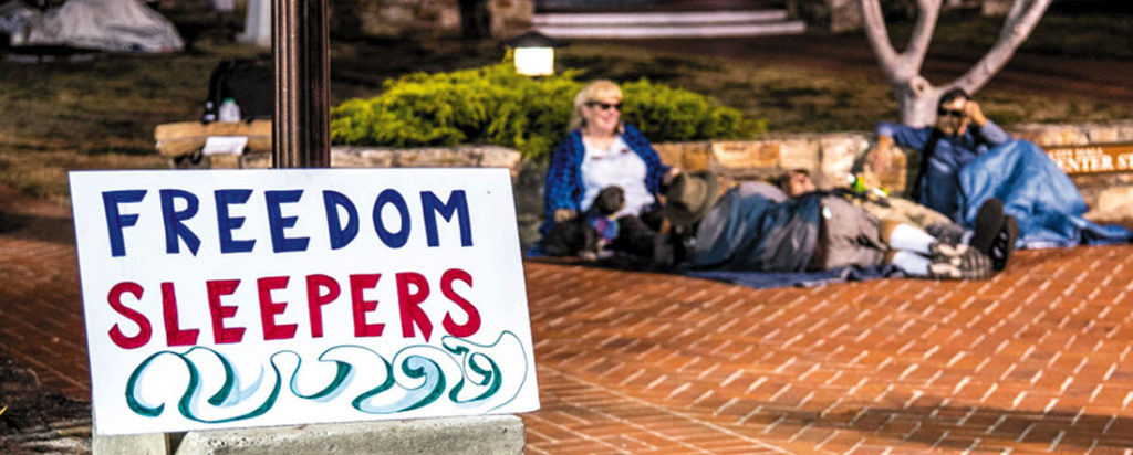 The Freedom Sleepers of Santa Cruz are holding highly visible protests demanding an end to the sleeping and camping ban in Santa Cruz.