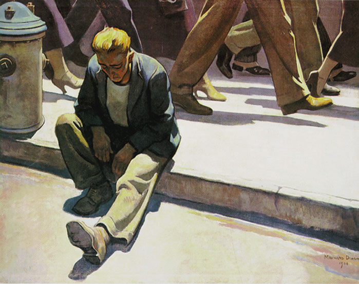 """Forgotten Man,"" abandoned and ignored by an indifferent society. Painting by the great 20th century American artist Maynard Dixon"