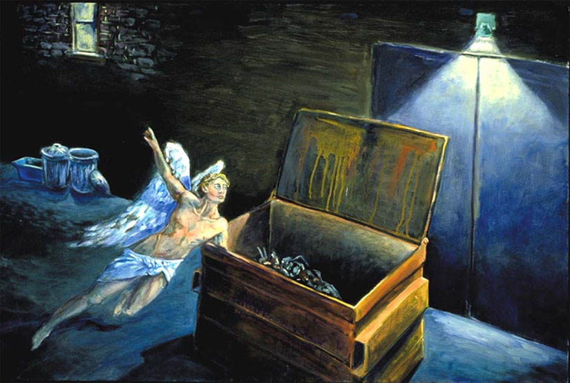 """Dumpster Dive."" An angelic spirit hovers over an alley where homeless people seek food and shelter. Painting by Jonathan Burstein"