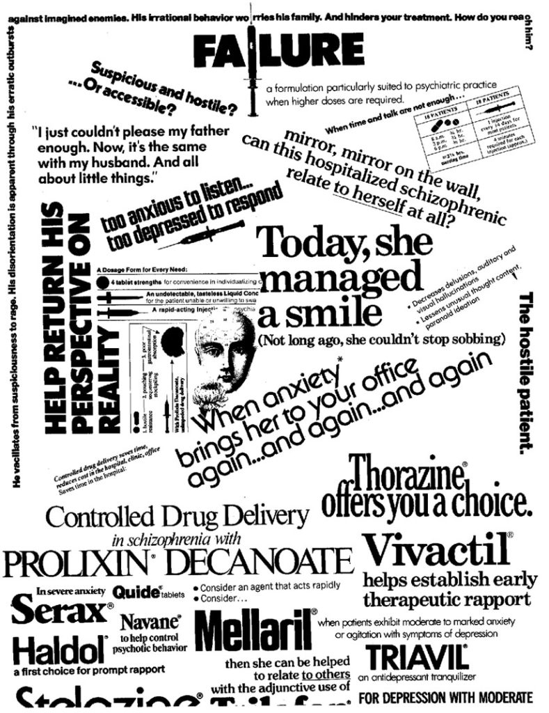 The advertising dollars of giant pharmaceutical corporations push a barrage of mind-damaging medications on the public. Graphic from Madness Network News Reader