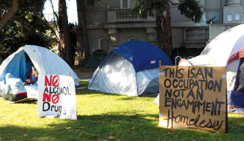 "Signs at the occupation at Old City Hall display the rules created by consensus of the self-governing community of homeless occupants: ""No Alcohol. No Drugs."" Lydia Gans photo"