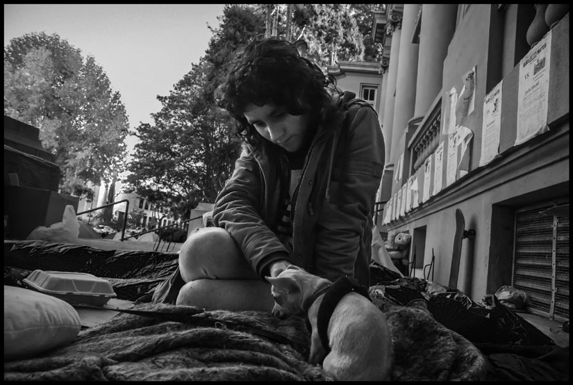 A young woman with her dog in the Liberty City occupation outside the old Berkeley City Hall. Photo by David Bacon