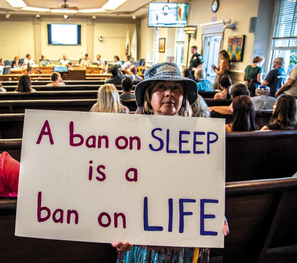 "A homeless advocate takes her message to the Santa Cruz City Council: ""A ban on sleep is a ban on life."""