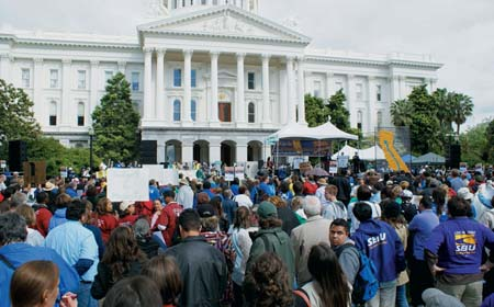 Thousands of students and teachers rallied against state budget cuts on April 21 in front of the State Capitol. Mark Copelan photo