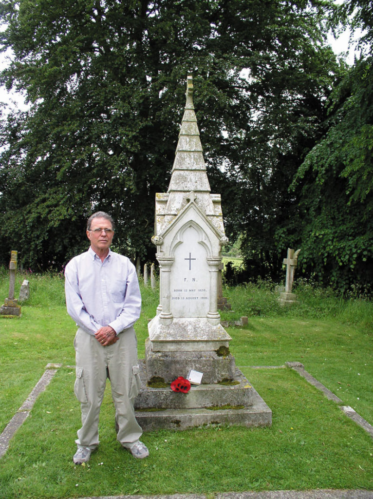 Joe McDonald at Florence Nightingale's grave in gravesite at East Wellow, England. Photo: David Bennett Cohen