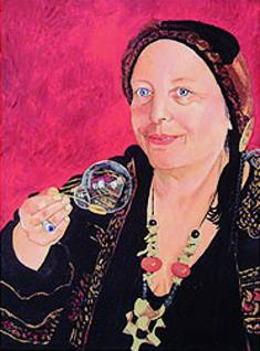 A portrait of Berkeley poet Julia Vinograd painted by her sister Deborah Vinograd