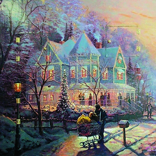 "Holiday Home Luke 16: 25"" A homeless man finds no home in this scene reminiscent of Thomas Kinkade's art. Market-rate housing means mansions for the wealthy, shopping carts for the poor Painting by Jos Sances, 33"" x 33"""