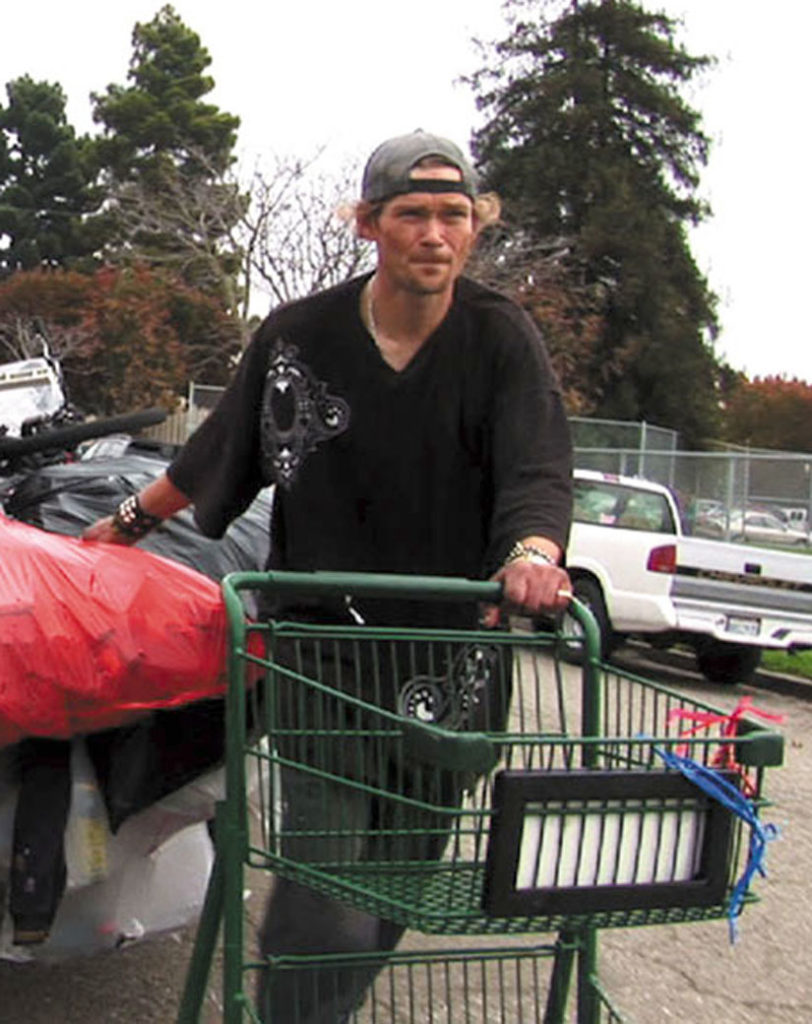 Jason Witt is a homeless recycler in Oakland — and the son of Marjorie Witt. He tows a car-sized load of trash to Alliance Recycling, hoping to earn enough to survive another day.